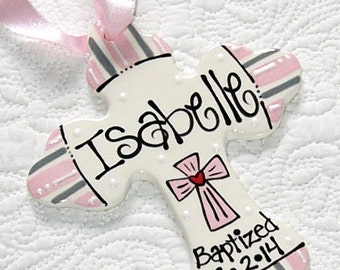 Personalized Baptism Cross Ornament in Pink