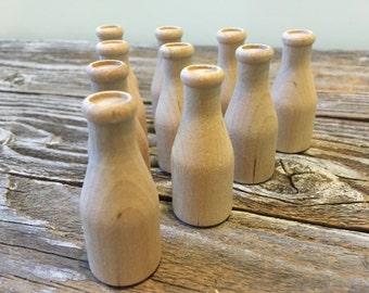 Destash 10 Miniature Unfinished Wooden Milk Bottles, Crafting Supplies