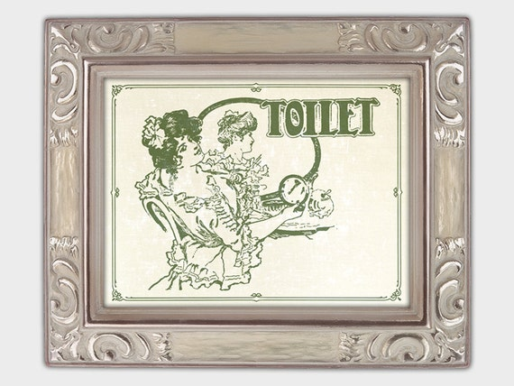 Art Nouveau Vert Salle De Bain Signe Toilette Affiche Murale