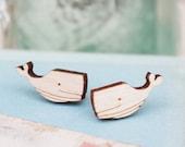 Laser Cut Wooden Whale Stud Earrings