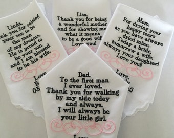 gift set of four wedding personalized handkerchiefs father of the bride mother of the bride mother of the groom