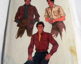Men's Button down Button front Casual Dress Shirt sewing pattern Simplicity 8541 Size 40 Neck 15.5""