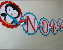 Winter Onederland Penguin Name Banner, Winter Wonderland, Penguin Birthday, Birthday Banner