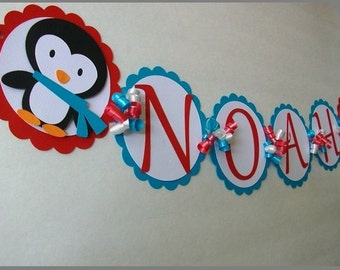 Winter Onederland Penguin Name Banner, Winter Wonderland, Penguin Birthday, Birthday Banner