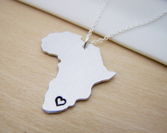 Africa Hand Stamped Initial Necklace Simple Jewelry Everyday Necklace / Gift for Her