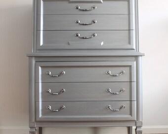 SOLD****Grey Metal Tall Dresser/Chest of Drawers/Bureau - see below