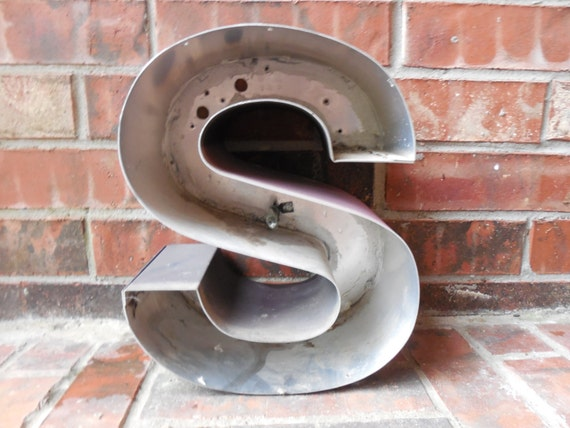 Large reclaimed metal sign capital letter quot s quot wedding birthday wall