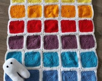 Granny Square Crochet Afghan Rainbow Baby Blanket