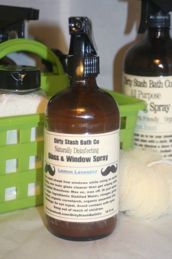 All Natural Glass & Window Spray 16 OZ Lime Basil essential oils