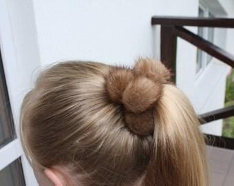 Mink fur scrunchie large poms ivory, black, brown, red