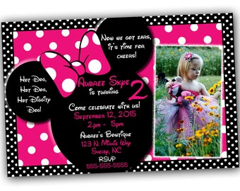 Minnie Mouse Invitations AND Thank you card Bundle, Minnie Mouse Birthday, Pink Minnie Mouse invitations, Minnie Mouse party