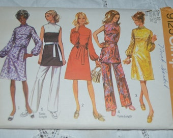 VIntage 70s Simplicity 9125 Misses Dress or Tunic and Pants Sewing Pattern - UNCUT -  Size 10