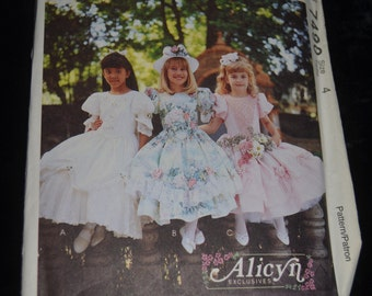 McCall's 7490 Childrens and Girls Special Occassion Dress Sewing Pattern - UNCUT Size 4
