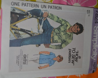 Vintage Simplicity 7824 Boys Shirt  Sewing pattern  - UNCUT-  Size 10 or Size 12