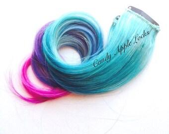 Hair Extensions,Pastel Blue Cotton Candy Queen  Rainbow, Tye Dye, Dip Dye Clip in Human Hair Extensions