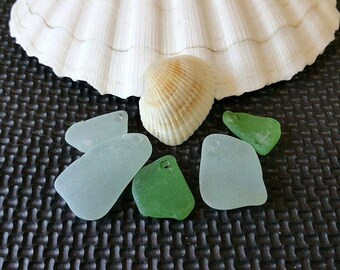 SEA GLASS 5 pieces +Sunrise Shell Beach Glass Drilled Beach Glass