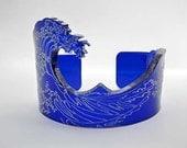 Bottle blue Customizable Kanagawa wave acrylic bangle.