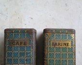 French vintage tin box, Coffee and flour