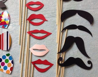Clearance Sale Party Photo Booth 30 Pcs Mixed Wedding Mustache Props