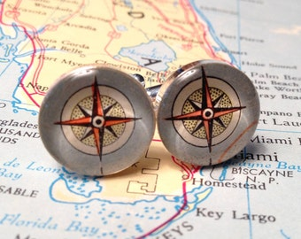 Nautical Compass Cufflinks,Vintage Map Cufflinks,Compass RoseCufflinks,Mens Cufflinks, OOAK Wedding Formalwear Tuxedo Summer By The Sea Gift