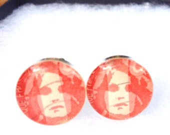 Vintage Sexy Cufflinks, Retro Cuff Links, Woman's Face, Graphic Postage Stamp, Men's Cufflinks, One Of A Kind, OOAK