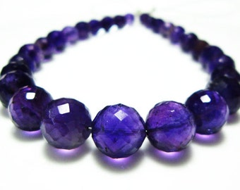 """AAA-Amethyst Faceted Disco Round Bolls- 7"""" Strand -Stones measure- 4-8mm"""