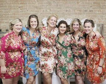Set of Bridesmaids robes Kimono Crossover Robes Spa Wrap Perfect bridesmaids gift getting ready robes Bridal shower party favors