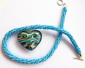 Heart pendant necklace, blue kumihimo necklace, glass heart pendant, UK shop