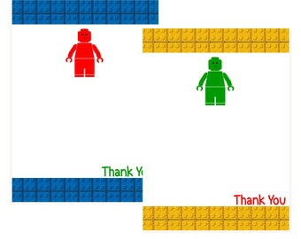 INSTANT DOWNLOAD Printable Fresh & Fun Flat Building Block Guy Thank You Note Cards