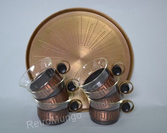 Copper tea set , 6 cups  with Holders and Tray - Jena Schott  Germany