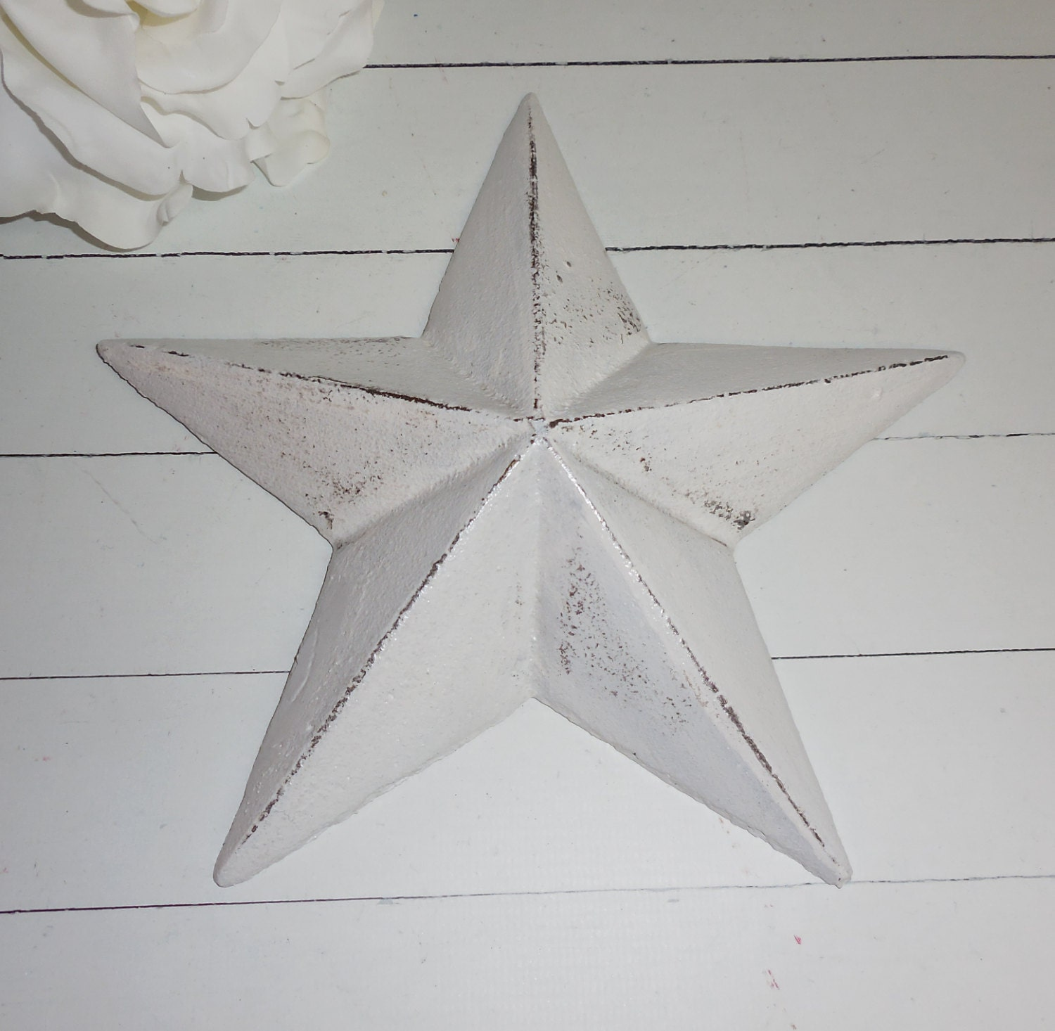 White Star Wall Decor : White cast iron wall art decor star by