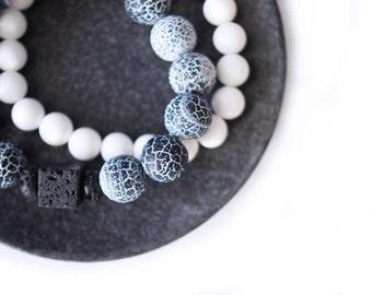 Crude Black Crackle Agate Bracelet Set w Black Lava Cube  .  Sterling Silver . Natural Stone Bracelet . White Coral Bracelet . Aromatherapy