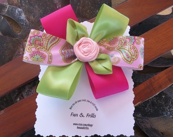 Stacked pailsey hair bow