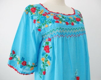 Mexican Embroidered Blouse Cotton Top In Blue, Boho Blouse, Hippie Top Bohemian Style