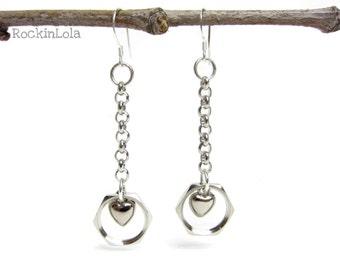 hex nut dangle earrings - hardware earrings - silver heart - sterling silver ear hooks - handmade by RockinLola