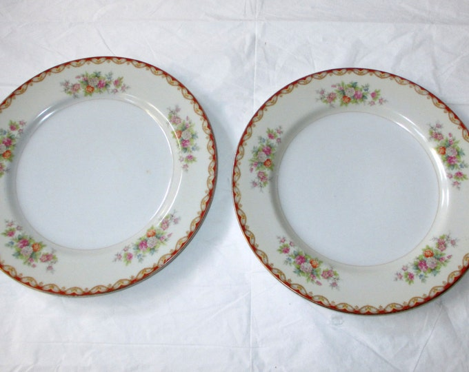 2 Diamond ROSLYN 9.25 inch Luncheon Plates, marked Made in Occupied Japan (1945-1952)