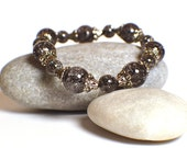Beaded Stretch Bracelet, Crackle Beads, Glass Beaded Bracelet, Blue Black and Silver Bracelet, Stretch Bracelet, Beaded Bracelet