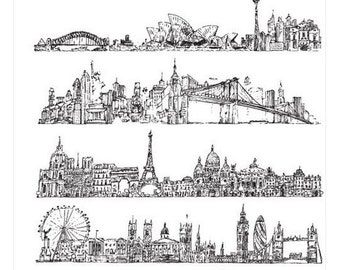 Stampers Anonymous Tim Holtz Collection CityScapes Cling Mount Rubber Stamp Set CMS224