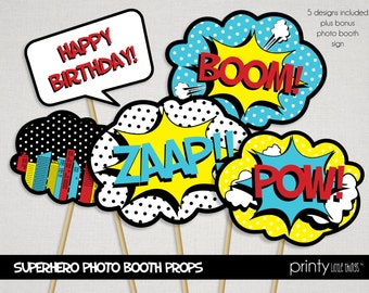 Retro Superhero Photo Booth Props - INSTANT DOWNLOAD