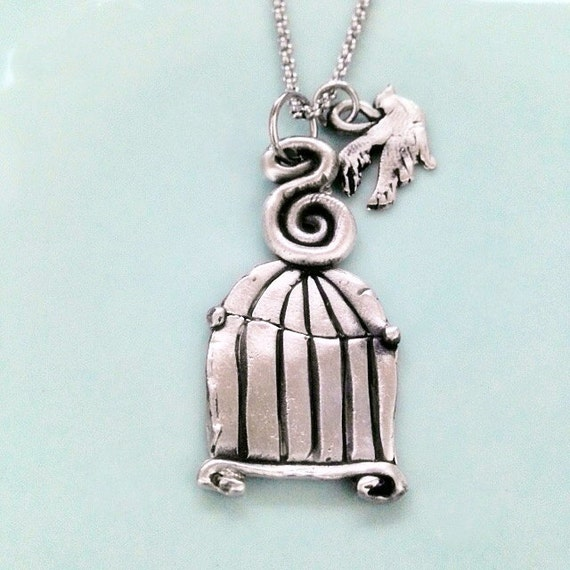 Bird cage necklace hand crafted jewelry freedom for Jewelry for mom for christmas