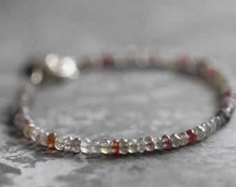 Sapphire Bracelet, Pave Diamond Charm, Disc Charm, Red Sapphires, Grey Sapphires, Layering Bracelet, Tennis Bracelet, Faceted 3mm Gemstones