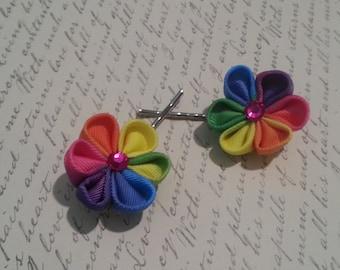 Rainbow Kanzashi Flower bobby pins