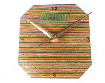 Darkstar Recycled Skateboard, Skate Clock, Wooden Clock, Wall Clock, Skateboard Art, Handmade Clock, Reclaimed Wood, Wood Turning