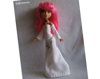 SALE = Monster Doll clothes - Handmade Custom Fashion - Angelic White Gown and Cross Belt and Necklace -  by dolls4emma