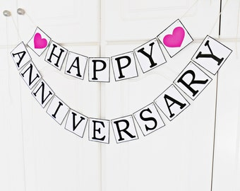 FREE SHIPPING, Happy Anniversary banner, Wedding banner, Any occasion banner, Anniversary celebration, Happy birthday banner, Hot pink heart