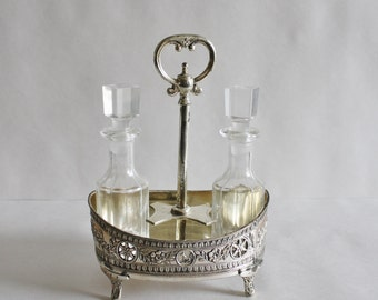 Silver Plated Cruet Caddy With Glass Servers