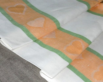 Linen table cloth striped peach white green tablecloth with hearts