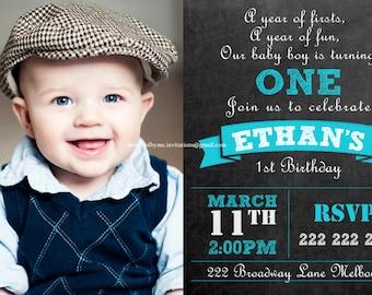 Chalk Board Personalised 1st Birthday Invitation - DIY Printing - JPEG File