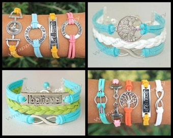 STYLE TIP ONLY - Affirmation / Symbol / Infinity Circle / Sport / Horse / Tree of Life Bracelet - Charm Jewelry Gift  - Made in Usa