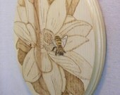 Wall hanging, flower wall hanging, wood burned wall hanging, wood burned art, floral art, bumble bee art.